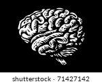 human brain isolated silhouette illustration - stock vector