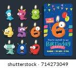 birthday anniversary numbers... | Shutterstock .eps vector #714273049
