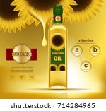 realistic sunflower with oil... | Shutterstock .eps vector #714284965