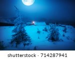 big full moon above the winter... | Shutterstock . vector #714287941