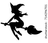 witch on broom silhouette | Shutterstock .eps vector #714296701