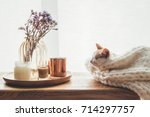 Stock photo ginger kitten sleeping on knitted woolen sweater wooden tray with home decor near the window fall 714297757
