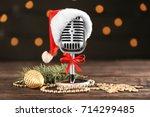 christmas music concept.... | Shutterstock . vector #714299485