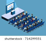 business meeting in an office... | Shutterstock .eps vector #714299551