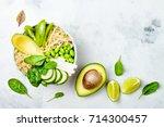 vegan  detox green buddha bowl... | Shutterstock . vector #714300457