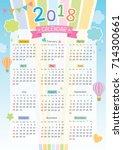 2018 twelve month calendar on...   Shutterstock .eps vector #714300661