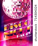 poster layout disco night party ... | Shutterstock .eps vector #714304324