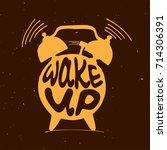 hand draw alarm clock... | Shutterstock .eps vector #714306391