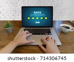 online reviews evaluation time...   Shutterstock . vector #714306745