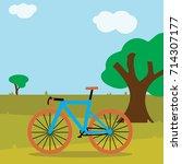 v lo cycling road bike cartoon  ... | Shutterstock .eps vector #714307177