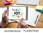 iot business man hand working...   Shutterstock . vector #714307435