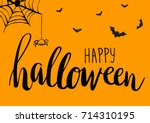 cute spiders  bats and web on... | Shutterstock .eps vector #714310195
