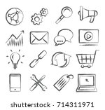 seo doodle icons   Shutterstock . vector #714311971