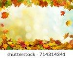 autumn falling maple leaves...   Shutterstock . vector #714314341