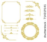 set of vintage elements. frames ... | Shutterstock . vector #714319141