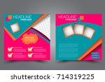 square flyer template. brochure ... | Shutterstock .eps vector #714319225