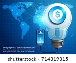 info graphic light bulbs... | Shutterstock .eps vector #714319315