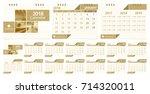 calendar 2018  week start on... | Shutterstock .eps vector #714320011