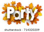 party autumn sign with golden... | Shutterstock .eps vector #714320209