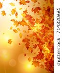 autumn background with golden... | Shutterstock .eps vector #714320665