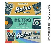 set of vector banners. retro... | Shutterstock .eps vector #714326701