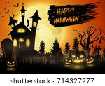 scary church with pumpkins on... | Shutterstock . vector #714327277