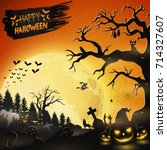 halloween night background with ... | Shutterstock . vector #714327607