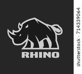 angry rhino. monochrome logo on ... | Shutterstock . vector #714339064