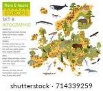flat european flora and fauna...   Shutterstock .eps vector #714339259
