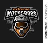 extreme motocross logo  on a... | Shutterstock . vector #714341014