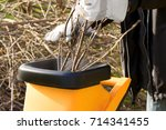 garden works in autumn ... | Shutterstock . vector #714341455