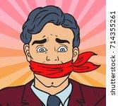 pop art speechless silenced... | Shutterstock .eps vector #714355261