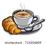 illustration of hot coffee... | Shutterstock .eps vector #714356809
