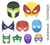 superhero mask set icons in... | Shutterstock .eps vector #714376615