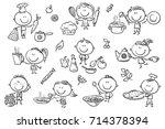 a set ot funny sketchy kids... | Shutterstock .eps vector #714378394