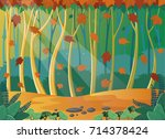 autumn landscape with falling... | Shutterstock .eps vector #714378424
