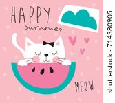 cute cat with melon vector... | Shutterstock .eps vector #714380905