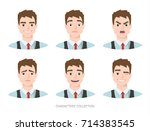 set of emotions for business... | Shutterstock .eps vector #714383545