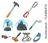 ice ax  conquered top ... | Shutterstock .eps vector #714386974