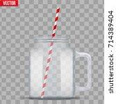 glass mason jar without cap... | Shutterstock .eps vector #714389404