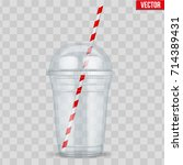 clear plastic cup with sphere... | Shutterstock .eps vector #714389431