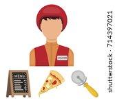a pizza cutter  a slice  a menu ... | Shutterstock .eps vector #714397021