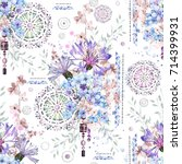 seamless pattern with... | Shutterstock . vector #714399931