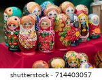 russian wooden nested dolls | Shutterstock . vector #714403057