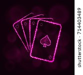 game cards icon. four playing... | Shutterstock . vector #714403489