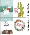 set of cute christmas greeting... | Shutterstock .eps vector #714412684