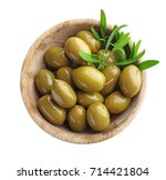 Wooden Bowl With Green Olives...