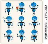 set emoticon blue robot with... | Shutterstock .eps vector #714422065
