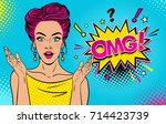 Wow female face. Sexy surprised young woman with open mouth and pink pin up hair, bright makeup and OMG speech bubble. Vector colorful background in pop art retro comic style. Party invitation poster.
