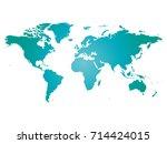 map of world. blue silhouette... | Shutterstock .eps vector #714424015